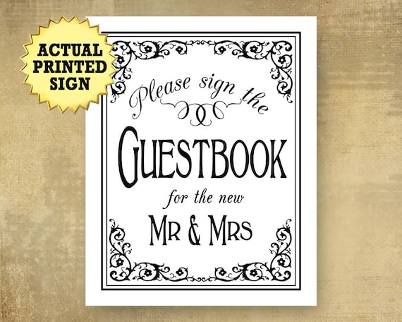 Please sign our Guestbook Wedding sign, PRINTED Black White wedding signage, Mr. Mrs. Guestbook, Traditional wedding, modern wedding signs