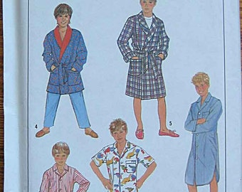 Boy's Easy to Sew Robe, PJ's, Pajamas in 2 Lengths, Nightshirt, Simplicity 8327 Sewing Pattern UNCUT Size Large, 12