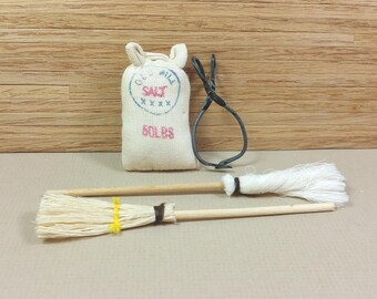 MINIATURE  RUSTIC ACCESSORIES, Ice Tongs, Broom, Mop, Salt Sack, 1:12 Scale, 1980's, Vintage Country Dollhouse, General Store Decor