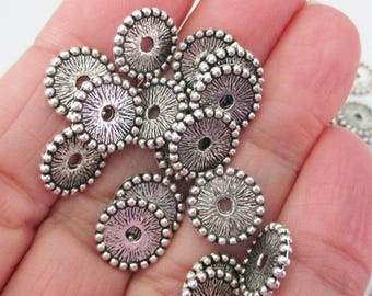 Silver Flat Round Spacers - Center Drilled Beads - Hobnail Edged - Saucer Shape Metal Bead Cap - Diy Jewelry Findings - 40 Pcs - 11mmx2mm