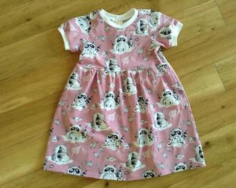 Pink raccoon dress, girls pink jersey dress with raccoon print, cute raccoon dress, pink cotton jersey dress, raccoon summer dress