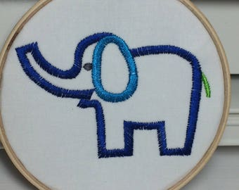 Embroidered Art, Elephant, Embroidery hoop art, nursery art, art for child's room, elephant art, blue elephant
