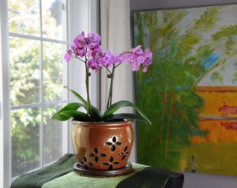 "Hilo 2018 Edition (MEDIUM 5.5"") Handmade Ceramic Orchid Pot With Attached Saucer, Glazed Pottery, Glazed Pottery, Orchid Planter"