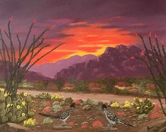 "Arizona Desert southwest landscape original oil painting  16""x20"" gallery wrapped"