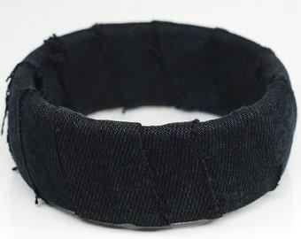 Black Denim Bracelet- Upcycled Textile Jewelry, Fabric Bangle Bracelet, Denim Bangle, Denim Jewelry, Recycled Jewelry by Tanith Rohe