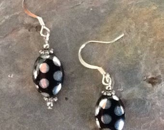 Black and Silver Earrings,  Black and silver Jewelry, Black Bead Earrings, Black Earring, Back with Silver Polka Dots