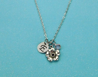 Initial Necklace, Flower Necklace, Bridesmaid  Necklace, Flower Girl Necklace, Personalized Jewelry, Gift For Her, Friend Necklace, Birthday