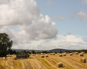 Hay Bales in the Irish Country Side Clouds, Barn, Wall Art, Landscape Photography