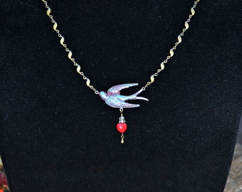 Red Bird Necklace with turquoise blue accents, tiny valentine heart and vintage rhinestone charm handmade gift for her
