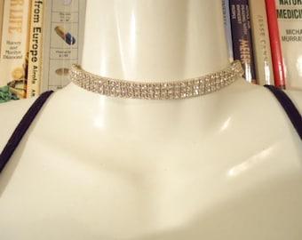 Vintage Clear Crystal Rhinestone Choker Stretchy Necklace Triple Row Silver Tone
