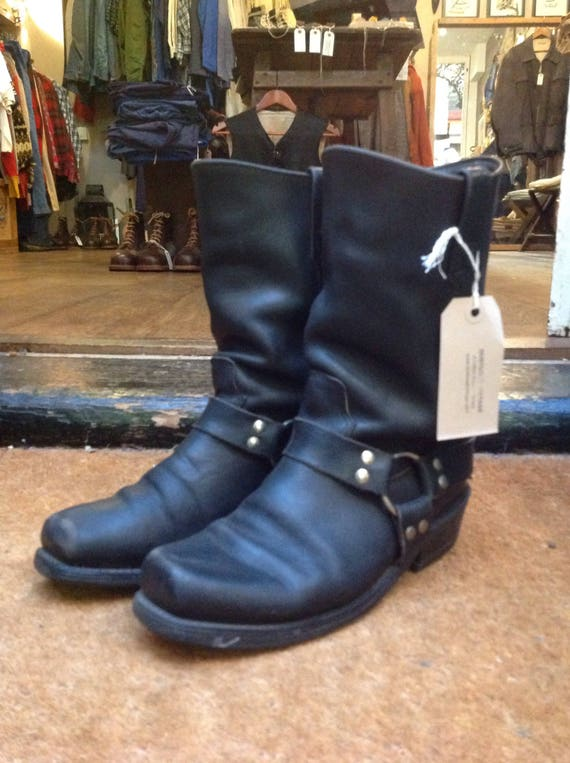 Vintage Double H HH black leather harness ring boots US 8.5 biker motorcycle rockabilly Marlon Brando square toe