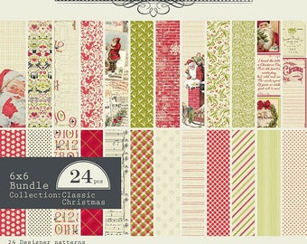 """AUTHENTIQUE Classic Christmas Collection, Paper Crafting Kit, 24 sheets, 6"""" X 6"""" paper pad, Christmas/holiday crafts"""