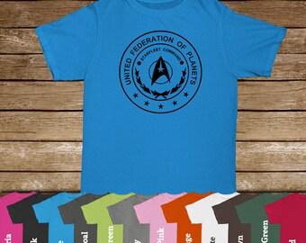 United Federation of Planets STARFLEET COMMAND Tshirt/Star Trek/Trekkie Shirts/Trekkie Fandom/Spock/Vulcan/Star Trek Movie/USS Enterprise