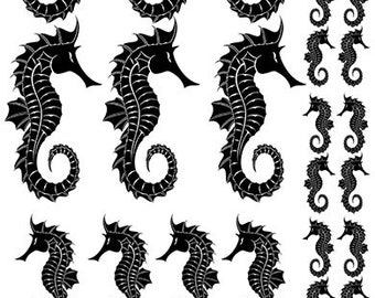 Seahorse Silhouettes - Ceramic Waterslide Decal - Enamel Decal - Fusible Decal - 81009
