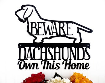 Wire Haired Dachshunds Own This Home Metal Sign - Black, 17x14.5, Weiner Dog, Outdoor Sign, Door Sign, Dachshund Gift