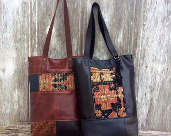Carpet Bag - Tall Skinny Leather Patchwork - Carpetbag Tote in Black - Navy - Olive and  Celery, Color Block with Vintage Rug by Stacy Leigh