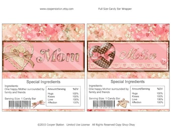 Printable Digital Mothers Day Hershey Candy Bar Wrapper- 1.55 oz Size