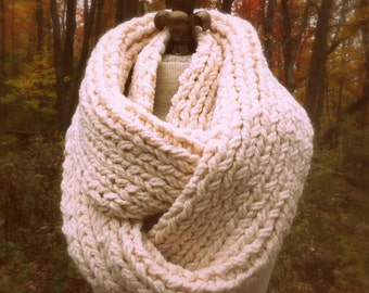 Oversized Super Chunky Infinity Scarf Loop Cowl - Ivory - MADE TO ORDER