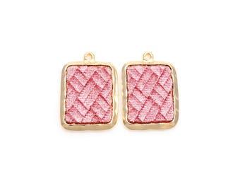 2pcs - Rose Pink Velvet Square Pendant in Polish Gold Frame / velveteen pendant / rose velvet / 16k gold plated / 20mm x 29mm / BPKG363-P