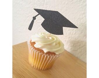 Graduation Cap Cupcake Toppers- Graduation Cupcakes - Class of 2017- 2017 cupcake toppers- Graduation Cap-  Set of 12