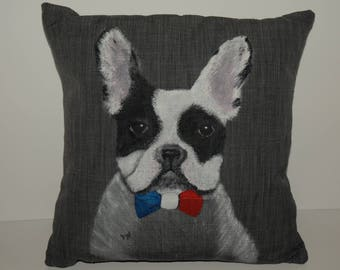 French Bulldog Hand Painted Cushion