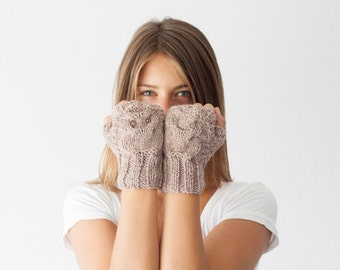 Sales Owl fingerless gloves in beige mittens hand knit gloves hand warmers texting gloves mittens mitts wrist gloves