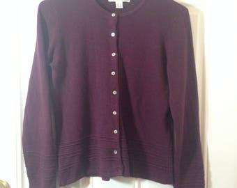 Casual Corner Annex Petite Burgundy Brick Red Button-Down Classic Cardigan  Sweater Autumn Winter Sz
