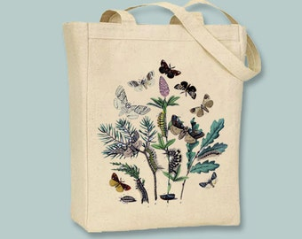 Vintage Bohemian Moths illustration on Canvas Tote with Shoulder Strap -- Selction of sizes available