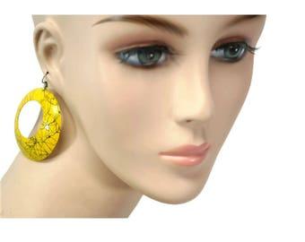 vintage yellow paint splash earrings