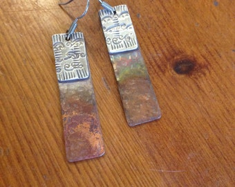 Handcrafted Silver and Copper Earrings