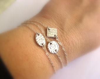 Dainty Bracelet - Sterling Silver Bracelet with Hammertone Oval Link - charm bracelet - layering bracelet