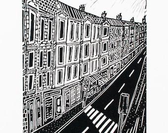 Tenements (Original Linocut Print)