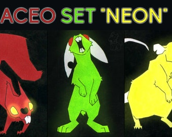 "ACEO Set ""Neon"" - limited Edition"