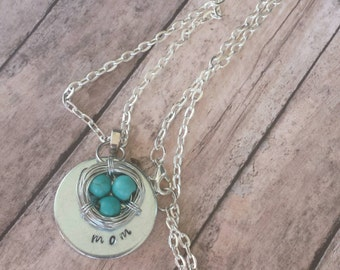 Stamped mom necklace, bird nest necklace, mothers necklace, hand stamped necklace, mom necklace, personalized, mother gift from daughter