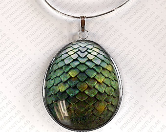 Green Dragon Egg Pendant, Dragon Necklace,  Dragon Egg Necklace, Dragon Scales, Jewelry, Charm