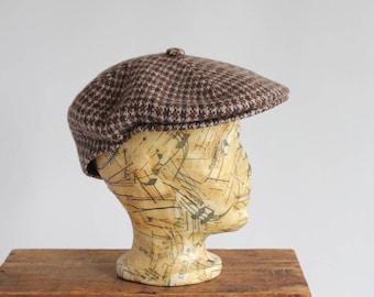 Tweed Browns Houndstooth Taupe Wool Kangol Newsboy Indie Hat Cap Beret Modelaine Pepe Made in England