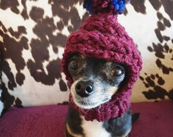 Burgundy - Knit Wool Hat for Small Dog - Puppy Hood - Chihuahua Clothes - Warm Winter Dog Beanie - Snood
