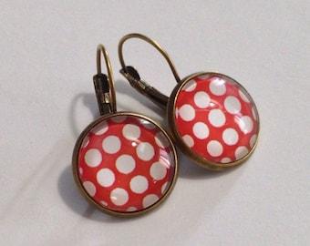 Fancy polka-dot stud earring - large - red and white polka-dots earrings