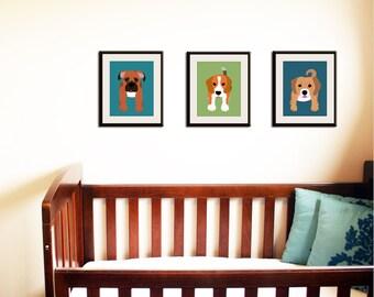 Puppy Dog nursery art for kids. Dog Art Baby nursery decor childrens prints. SET OF any 3 Dog prints in custom colors. Kids decor by WallFry