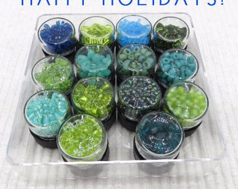 14 bead vials, Miyuki bead mix, Delica seed beads, glass Czech beads, bead collection, jewelry supplies, japanese beads, seed bead mix