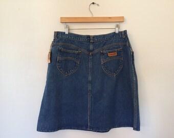 "Vintage Gitano Skirt / 34"" Waist / Vintage Denim Skirt"