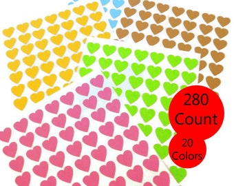 Choose Your Color - 280 Count - Mini Heart Stickers - Heart Stickers - Valentines Sticker - Envelope Seal - 0.50 inch