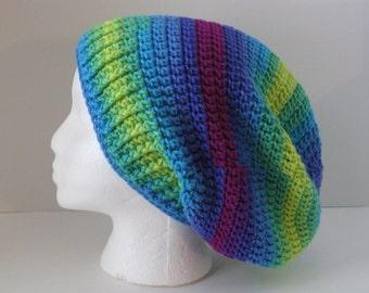 Womens Crochet Slouchy Hat, Striped Boho Crochet Slouchy Beanie Hat, Rainbow Stripe Slouchy Beanie, Teen Slouchy Hat, Oversized Slouchy Hat