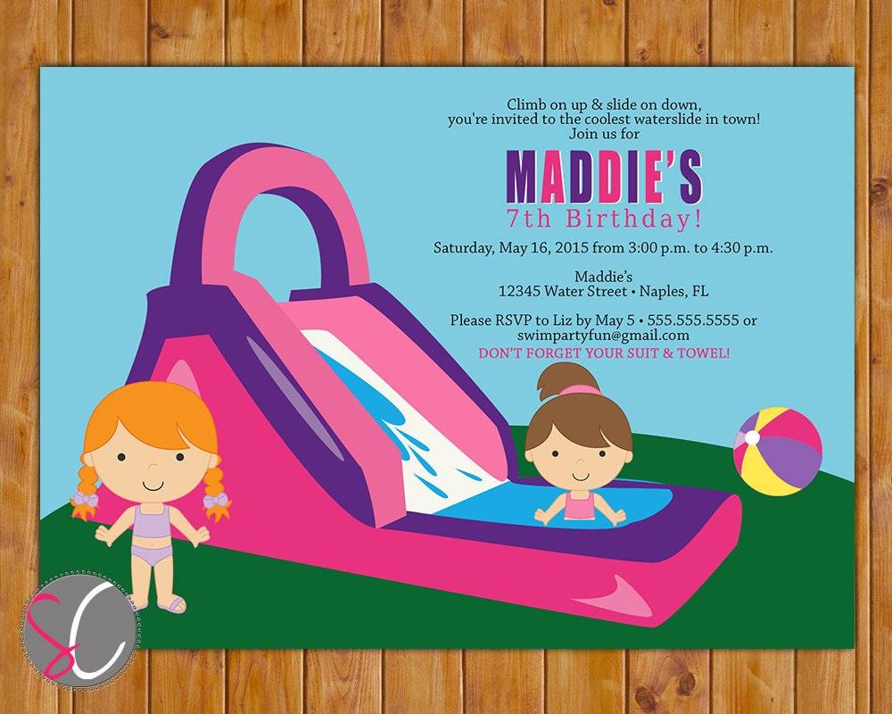 Waterslide Birthday Party Invitation Girl\'s Pink pool