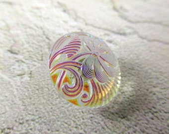 Czech Glass Clear Crystal AB Pincushion Flower 18mm Button for Jewelry Toggle or Decor