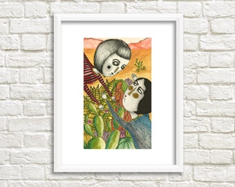 Ladies in Forest Illustration, Art Print