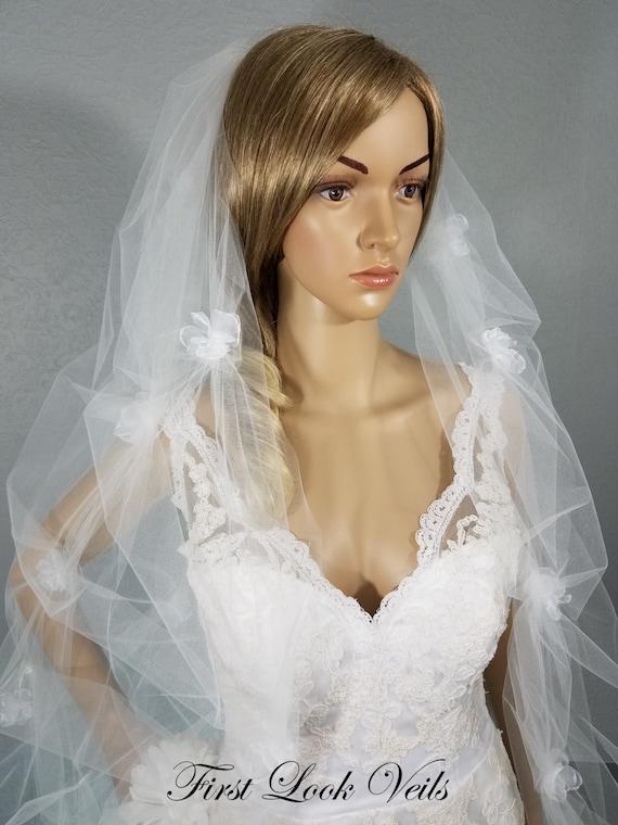 White Wedding Veil, Waltz Bridal Veil, Floral Veil, Pick Up Viel, Glass Bead Veil, Bling Veil, Wedding Vail, Full Bridal Veil, Puff Veil