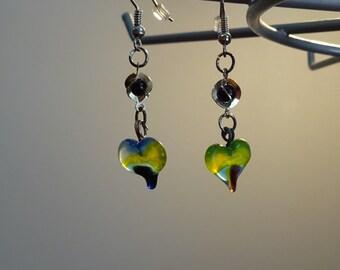 Black beads over Green Glass Heart Earrings (E13)