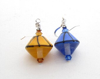Eurobrollies, Parasol Earrings, Europhile Earrings, Non Matching Earrings with Handmade Lampwork Glass Umbrella Beads, Blue and Yellow