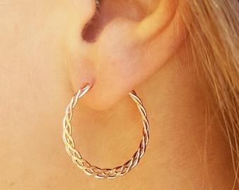 Rose gold filled dangle earrings, Minimalist hoop jewelry, Braided wire earrings